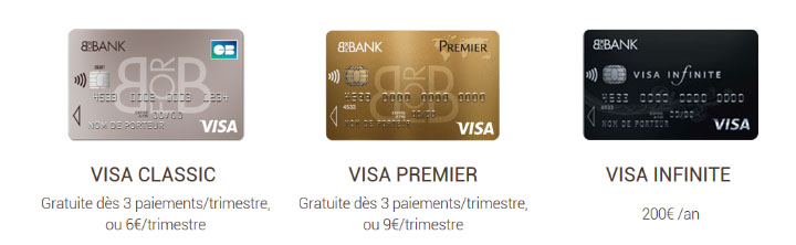 prix des cartes bancaires Visa chez Bforbank